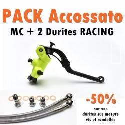 PACK Maitre cylindre de frein PR 19x20 ACCOSSATO Jaune Fluo + 2 Durites Racing