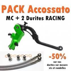PACK Maitre cylindre de frein PR 19x20 ACCOSSATO Vert + 2 Durites Racing