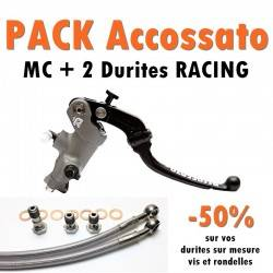 PACK Maitre cylindre de frein PRS 19x17-18-19 ACCOSSATO + 2 Durites Racing